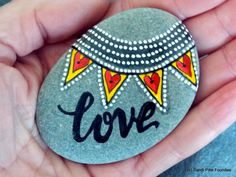 love / painted rocks / painted stones / words in stone / art on stone / beach art / annniversary gifts / unique wedding gifts / rock art by LoveFromCapeCod on Etsy