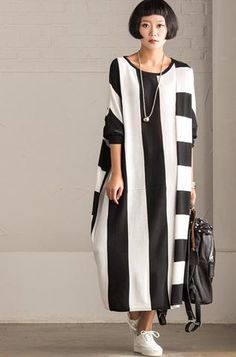 Korean Style Maxi Size Loose Knitting Stripe Bat Sleeve Dress Casual T Casual Tops For Women, Casual Dresses For Women, Dress Casual, Clothes For Women, Linen Dresses, Dresses With Sleeves, Maxi Outfits, Long Sweater Dress, Bat Sleeve