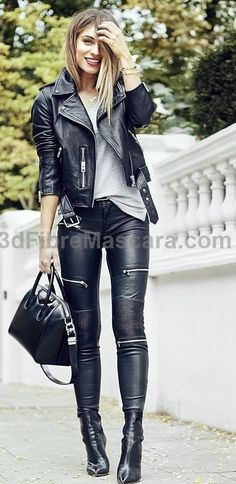 #fall #outfits · Leather Jacket & Pants & Tote   Grey Top #latex #sexy #ladies #women #latexskirt #latexdominate #latexboss #shiny #fashion #latexshopping #buylatex #skirts
