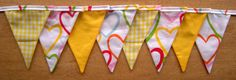 Yellow Gingham Hearts Fabric Bunting by MollyFelicityDesigns, £10.00