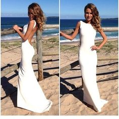 Sexy White Prom Dress Evening Dresses Open Back White by 214EVER, $159.99