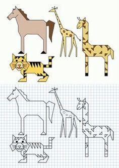 Dibuja los animales en una hoja de papel cuadriculada y colorea a continuación.