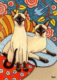 """""""Two"""" cute #siamese #cat #art"""