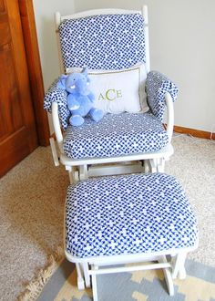 Practically Polished: Glider Makeover -no sewing, using hem tape and staples - Modern Glider Cushions, Glider Chair, Glider Redo, Glider Rockers, Furniture Makeover, Diy Furniture, Nursery Furniture, Repurposed Furniture, Furniture Projects