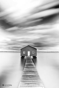 Matilda Bay Boat House Western Australia Black and White by Kirk Hille