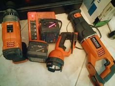 Text only: 2817649228 Email: sales@lightning-deals.com This set consist of all ridgid 24v Hammer Still, charger, 2- Batteries (1)is bad!! won't hold charge, flashlight ??, saw saw (reciprocating saw)