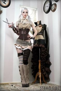 Gorgeous Steampunk costume and makeup!