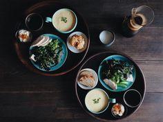 朝食緑野菜(赤ほうれん草クレソンサラダスナップ菜の花)と蒸しハム黄人参と京葱のポタージュ野菜で満腹 by saki.52