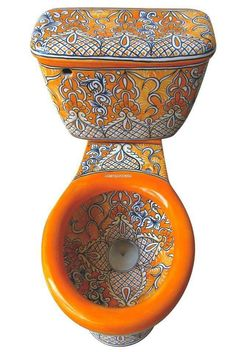 Mexican toilet decorated with Acapulco pattern works well with white, orange and brown bathrooms. The toilet comes with optional talavera accessory sets and hardware. Talavera Pottery, Boho Bathroom, Bathroom Sets, Bathroom Fixtures, Interior Decorating, Interior Design, Mexican Style, Room Accessories, Home And Deco