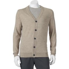 Men's Apt. 9® Modern-Fit Marled Merino Cardigan Sweater ($35) ❤ liked on Polyvore featuring men's fashion, men's clothing, men's sweaters, med beige, big and tall mens cardigan sweaters, mens big and tall sweaters, mens tall cardigan sweaters, mens merino wool sweater and mens marled sweater