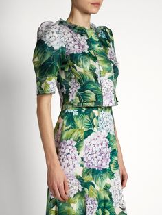 Dolce & Gabbana Hortensia-print organza cropped jacket