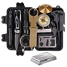 TRSCIND Survival Gear Kits 13 in 1 Outdoor Emergency SOS Survive Tool for Wilderness/ Trip/ Cars/ Hiking/ Camping gear Wire Saw Emergency Blanket Flashlight Tactical Pen Water Bottle Clip ect.