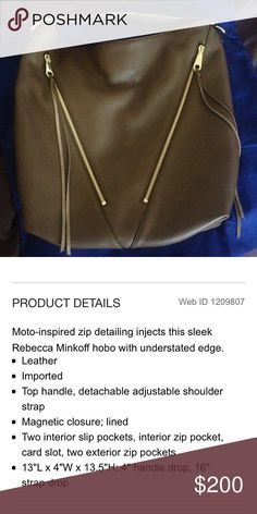 NWOT Rebecca Minkoff Moto Hobo New condition! Retails for $325 plus tax and shipping. Gorgeous 100% pebbled leather in chocolate brown with gold hardware. 🅿️🅿️ payment only pls. Rebecca Minkoff Bags Hobos