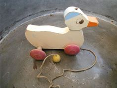 Old Wooden Pull Toys | Vintage Hustler Wooden Pull Toy Duck by Not2b4gotten on Etsy, $100.00