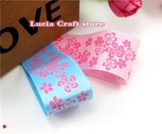 25mm Pink/Blue Polyester Printed Flower Grosgrain Ribbon Rosette Bow Craft DIY Accessories 5y/lot 040054199