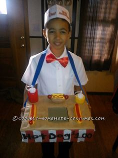 Cool Hot Dog Vendor Costume for Hot-Dog-Loving Boy... Coolest Halloween Costume Contest
