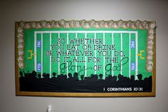 I mentioned before (in this post ) that I was a chairperson for a bulletin ministry in our church. We have very limited funds for it and oft. Football Bulletin Boards, Classroom Bulletin Boards, Classroom Ideas, Christian Bulletin Boards, Sports Theme Classroom, Sunday School Classroom, Team Theme, Football Themes, Kids Church