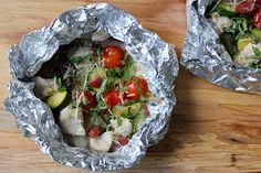 Domesticate ME!: Campfire Chicken Packets with Zucchini, Corn and Cherry Tomatoes