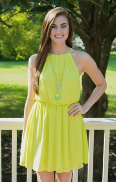 Exclusive JD86806LIME Must Love Lime Dress is a bright neon that you are going to LOVE as soon as you slip it on! The bright lime brings out your tan and highlights your figure. The elastic waistband and open back make for an easy, comfortable fit.
