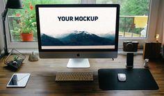 Realistic iMac Free PSD Mockup (7.6 MB) | downloadpsd.com | #free #mockup #photoshop
