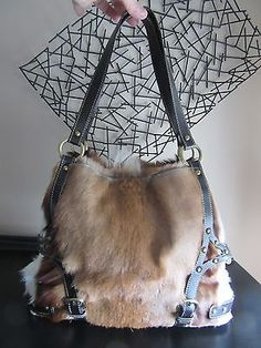 Diane Gail South African Springbok Antelope Fur Leather Brass Shoulder Bag Purse
