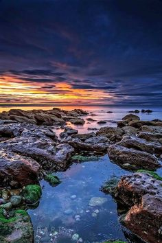 Pennan Sunset in Aberdeenshire, Scotland.