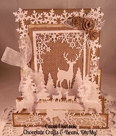 CottageCutz Deer Snowflake Scene Card (Chocolate Crafts and Bears, Oh My! 3d Cards, Paper Cards, Xmas Cards, Holiday Cards, Christmas Tag, All Things Christmas, Handmade Christmas, Chocolate Crafts, Winter Karten