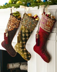 """Maroon """"Vine"""" Christmas Stocking by Jay Strongwater at Neiman Marcus."""