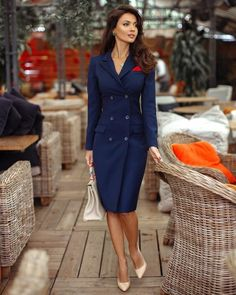 Blue Dress Outfits, Blue Dresses, Work Outfits, Work Dresses For Women, Suits For Women, Lawyer Outfit, Corporate Wear, Office Attire, Business Outfits