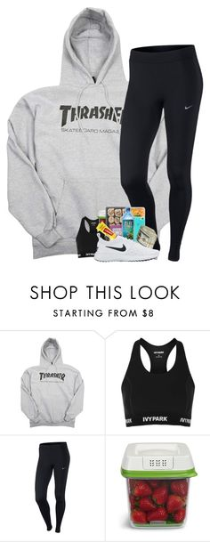 """""""Rewatching The Office"""" by mmprep ❤ liked on Polyvore featuring Topshop, NIKE, Rubbermaid and Carmex"""