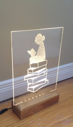 Girl Reading a Book LED Warm White Handmade Etching by Brightworkz