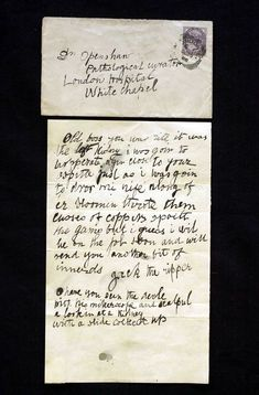 A letter thought to be written by Jack the Ripper. It was sent to Doctor Thomas Openshaw of the London Hospital Whitechapel dated 1888 Who Is Jack, Jack Ripper, Famous Serial Killers, Pen & Paper, Black Museum, Natural Born Killers, Ripper Street, Victorian London, London History