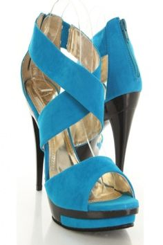 Royal Blue Faux Suede Strappy Stack Platform Heels $27.99