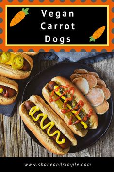 This is the BEST Vegan Carrot Dog recipe. A delicious plant-based alternative to regular hot dogs! Healthy easy LOW-FAT easy whole and great for the grill. Vegan Bbq Recipes, Hot Dog Recipes, Delicious Vegan Recipes, Vegan Snacks, Easy Healthy Recipes, Whole Food Recipes, Cooking Recipes, Healthy Cooking, Lunch Recipes
