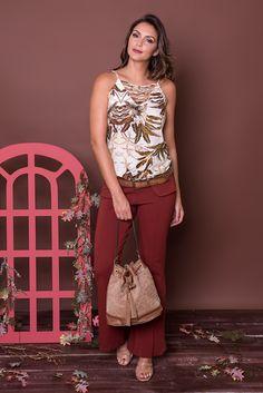 #debrummodas #coleção #calça #flare #tiras #blusa #floral #modafeminina #moda #fashion #style #estilo