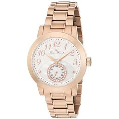 Lucien Piccard Garda Analog Display Quartz Rose Gold Watch ($90) ❤ liked on Polyvore featuring jewelry, watches, analog wrist watch, quartz jewelry, rose gold watches, rose gold bracelet and polish jewelry