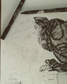 Desenho em andamento iron man vs hulk