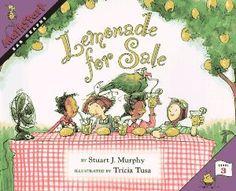 Lemonade for Sale (MathStart 3) by Stuart J. Murphy, Tricia Tusa ATOS Reading Level: 3.7 Interest Level: K-3 AR Points: 0.5 (2013)