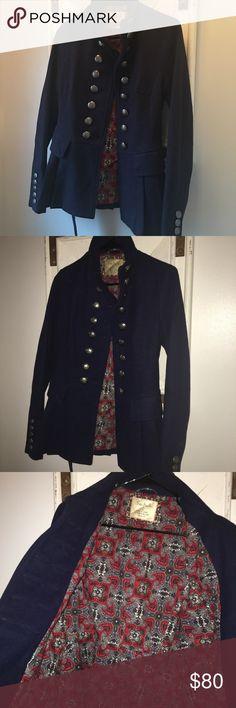 Wool jacket like new condition Just gorgeous military pleated peplum free people jacket !  Beautiful fit Free People Jackets & Coats Pea Coats