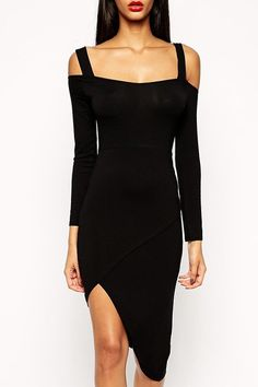 Black Cut Out Long Sleeve Bodycon Dress