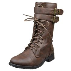 Womens Mid Calf Boots Buckle Accent Studs Lace Up Combat Boots Brown fashion style outfit footwear
