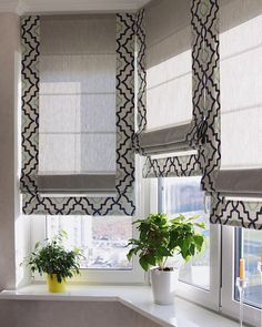 Astonishing suggestions to have a look at Bay Window Curtains, Roman Curtains, Curtains With Blinds, Valances, Bathroom Window Treatments, Custom Drapes, Round House, Curtain Designs, Kitchen Curtains