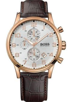 677b6e8f7711 This Mens Hugo Boss Watch 1512519 Has a Brown Leather Strap With a PVD Rose  Plating Case. This watch Features a Date Window And a Chronograph.