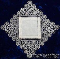 "Lavish Antique Tatted Lace Wedding Bridal Handkerchief or Doily 24 1/2"" x 24"""