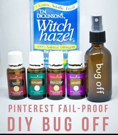DIY Bug Spray, oils, bottle, and witch hazel pictured