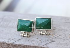 EARRINGS CONNECTOR silver green jade bezel by madameperlina
