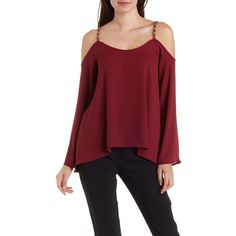 Charlotte Russe Burgundy Chain Strap Cold Shoulder Swing Top by... ($23) ❤ liked on Polyvore featuring tops, burgundy, red top, cutout top, cut-out shoulder tops, red wrap top and red chiffon top