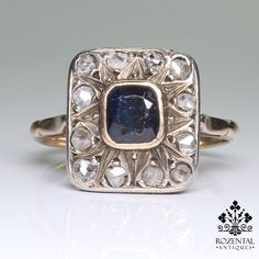 Period: Art deco (1920-1935) Composition: 18K gold and silver. Stones: - 11 Rose cut diamonds of J-I1 quality that weigh 0.40ctw. - 1 natural square cut sapphires that weigh 0.80ctw. Ring size: 8 Ring