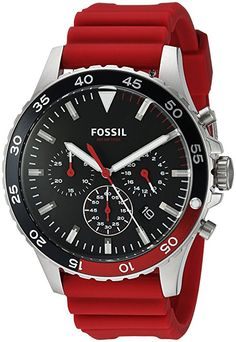 Fossil Men's Quartz Stainless Steel and Silicone Casual Watch, Color:Red (Model: CH3056)