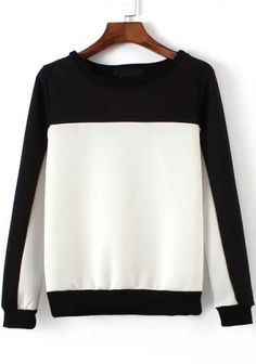 Sweatshirt col rond couleur contraste - Blanc noir 15.84